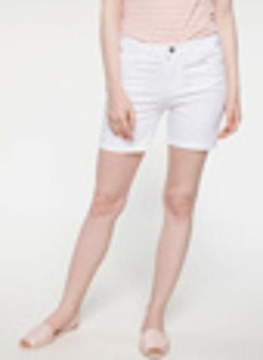 DeFacto Slim Fit Mini Şort Beyaz